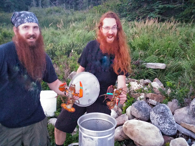 Two People Men Camping Lobster Cooking Ocean Water, Large Bucket